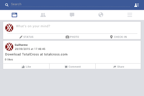 TotalCross' Facebook-UI sample- screenshot thumbnail