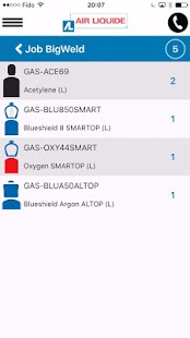 Air Liquide mobile application – Vignette de la capture d'écran