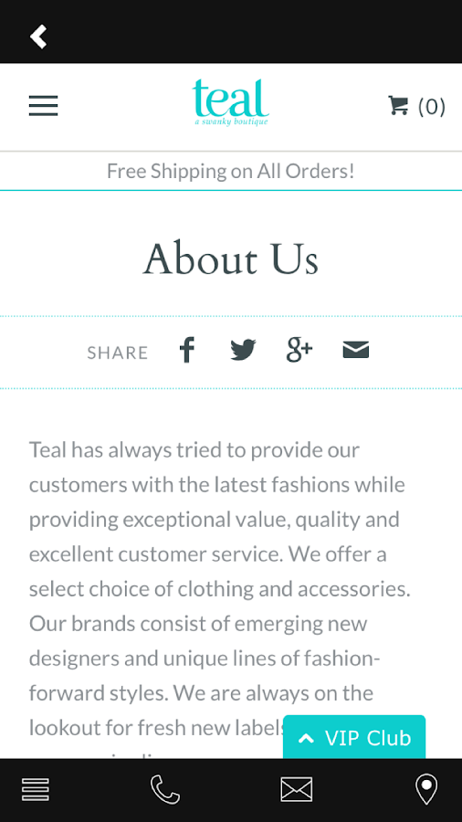 Teal a swanky boutique- screenshot