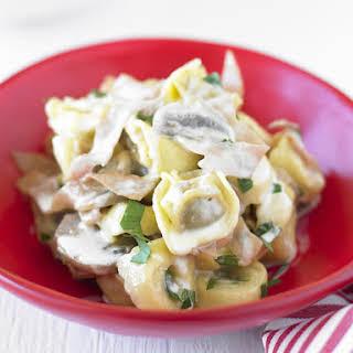 Tortellini with Ham and Mushrooms.