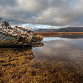 Mull Wreck by Ian Pinn - Landscapes Waterscapes ( scotland, desolate, ruin, loch, mull, boat,  )