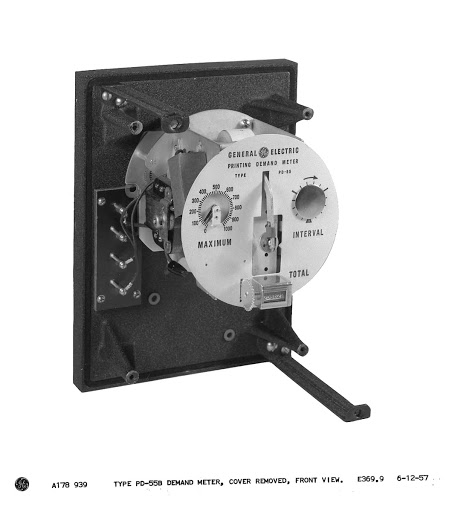 Type PD-55B demand meter, cover removed, front view