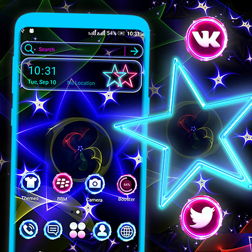 Neon Colorful Star Launcher Theme