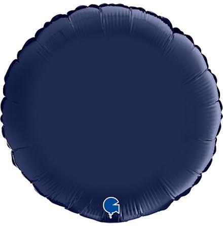 Folieballong Rund Satin - blue navy, 46 cm