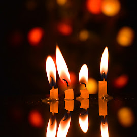 Candle Light by Suddhabrata Chakraborty - Abstract Fire & Fireworks ( candles, reflections, bokeh, light )
