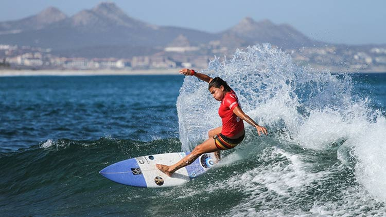 A local surfer tackles a swell during the Los Cabos Open of Surf at Zippers in San Jose del Cabo.