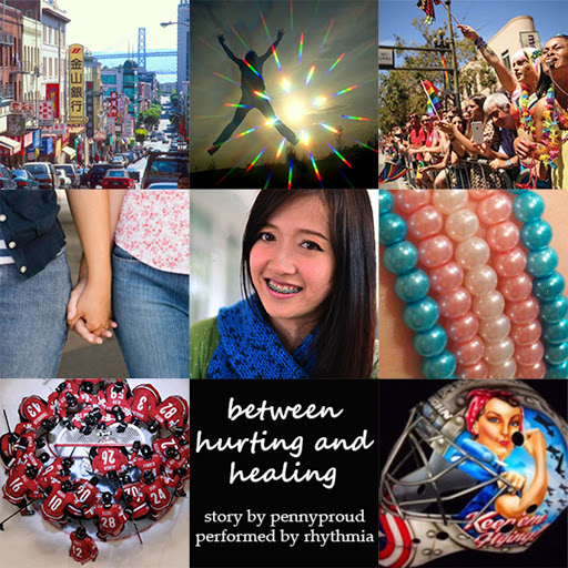 3x3 images from top left: SF Chinatown, silhouetted jumping person, crowd at SF Pride, holding hands, fantabulous trans!girl Christina Chow, trans pride bracelet, hockey team huddle, title and credits, NY Riveters goalie helmet