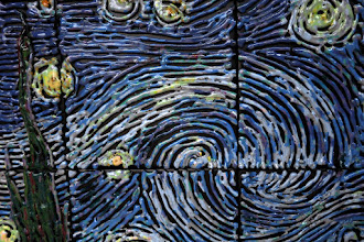 """Photo: """"Starry Night - Detail"""" After glazing and firing, India ink was applied and washed off after dry, leaving the exposed bisque tile surfaces black."""
