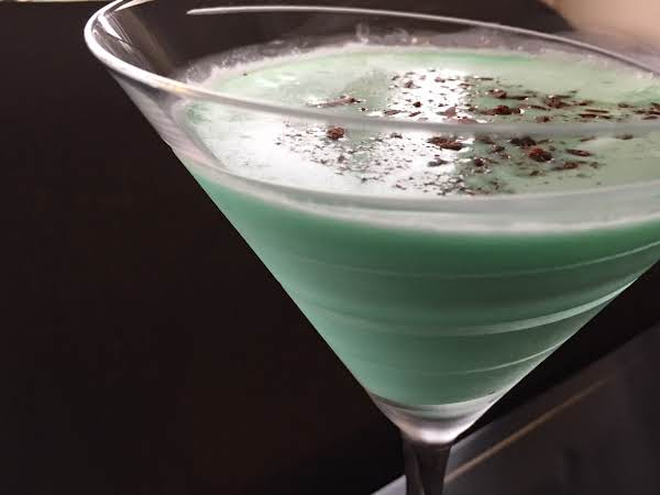 Grasshopper Martini In A Glass With A Black Background.