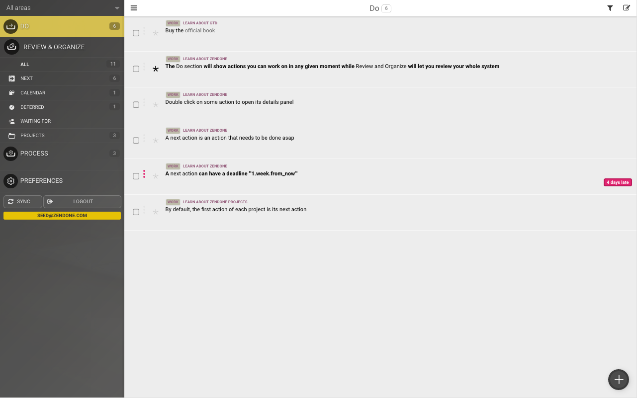 Zendone for GTD- screenshot
