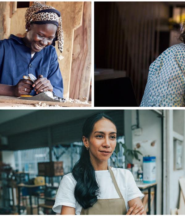 Colagem de 5 imagens de mulheres e raparigas a trabalhar e estudar
