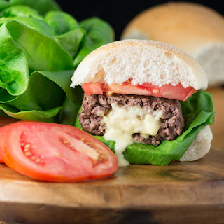 Homemade Cheese Stuffed Burgers.