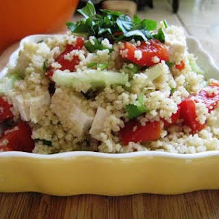 Cous Cous Tofu Salad With Creamy Herb Dressing.