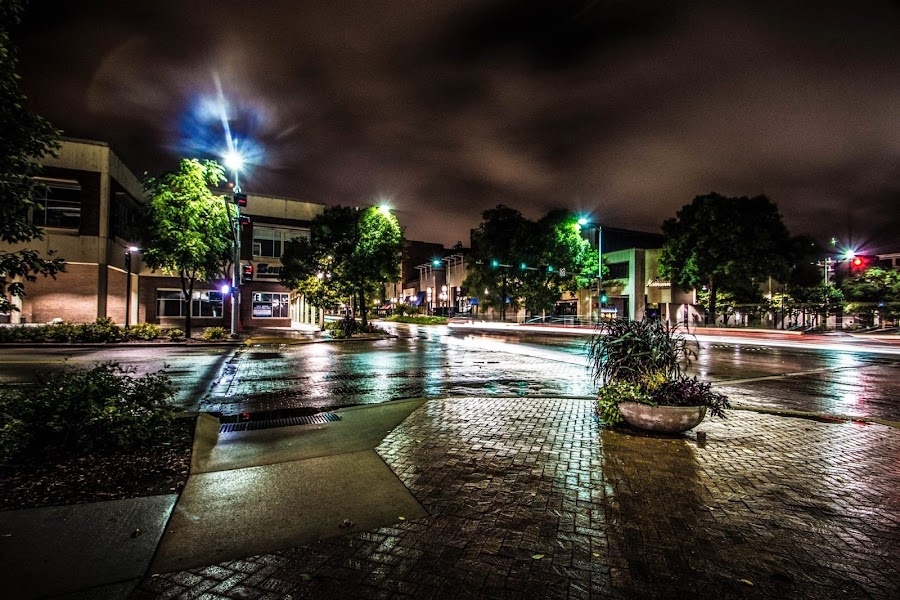 After the rain. by Bruce Thiel - City,  Street & Park  Night ( street scene, nightscape,  )