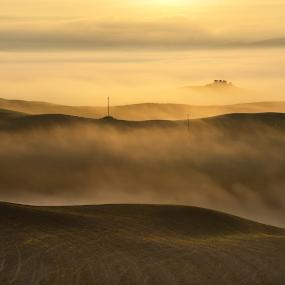 Alone by Lorenzo Moggi - Landscapes Sunsets & Sunrises ( hillside, hill, hills, foggy, fog, sunrise, landscapes, landscape, misty, mist )