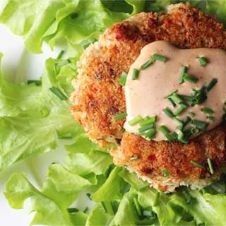 Tasty Salmon Patties with Sriracha Sauce