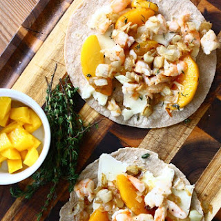 Shrimp Quesadillas with Peaches, Caramelized Onions & Brie