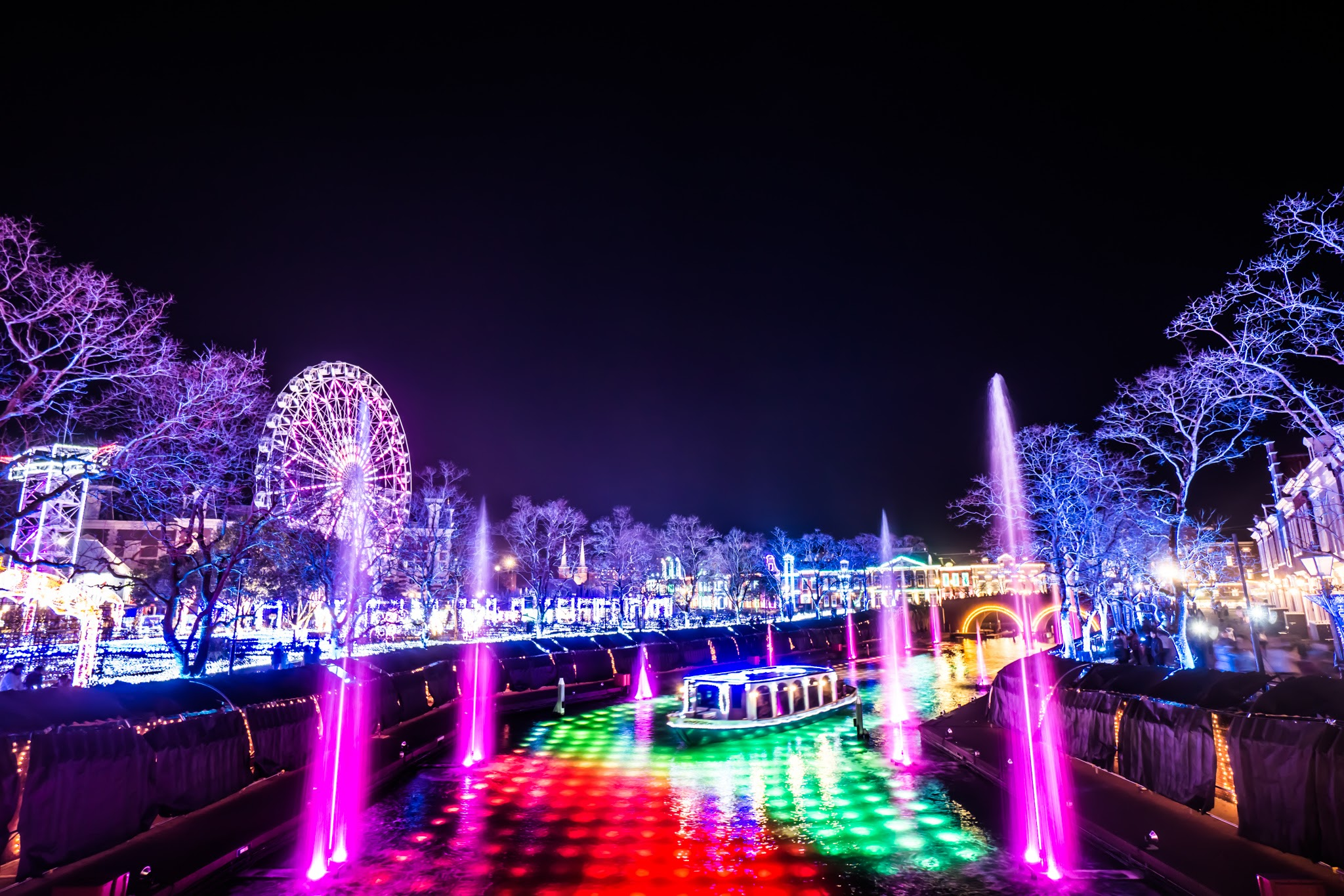 Huis Ten Bosch illumination Kingdom of light Light and Fountain Canal1