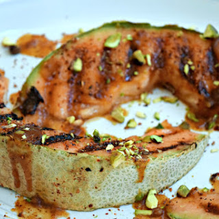 Grilled Cantaloupe with Ancho Date Sauce #FireUpYourStay.