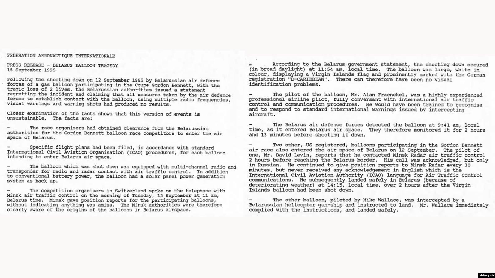 Пресс-релиз Международной авиационной федерации от 15 сентября 1995 года
