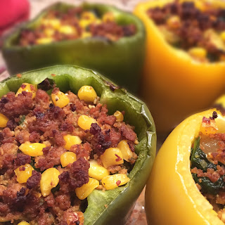 Grain-free Ground Turkey Stuffed Peppers.