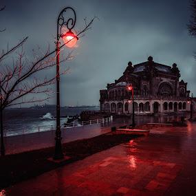 The Casino in the rain... by Doru Iachim - City,  Street & Park  City Parks ( red, sea, night, storm, rain )