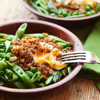 Spring Vegetable Salad With Poached Egg and Crispy Bread Crumbs.