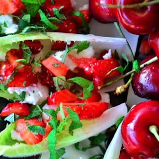 Endive with Strawberry, Mint, and Honey Recipe {ReluctantEntertainer.com}.
