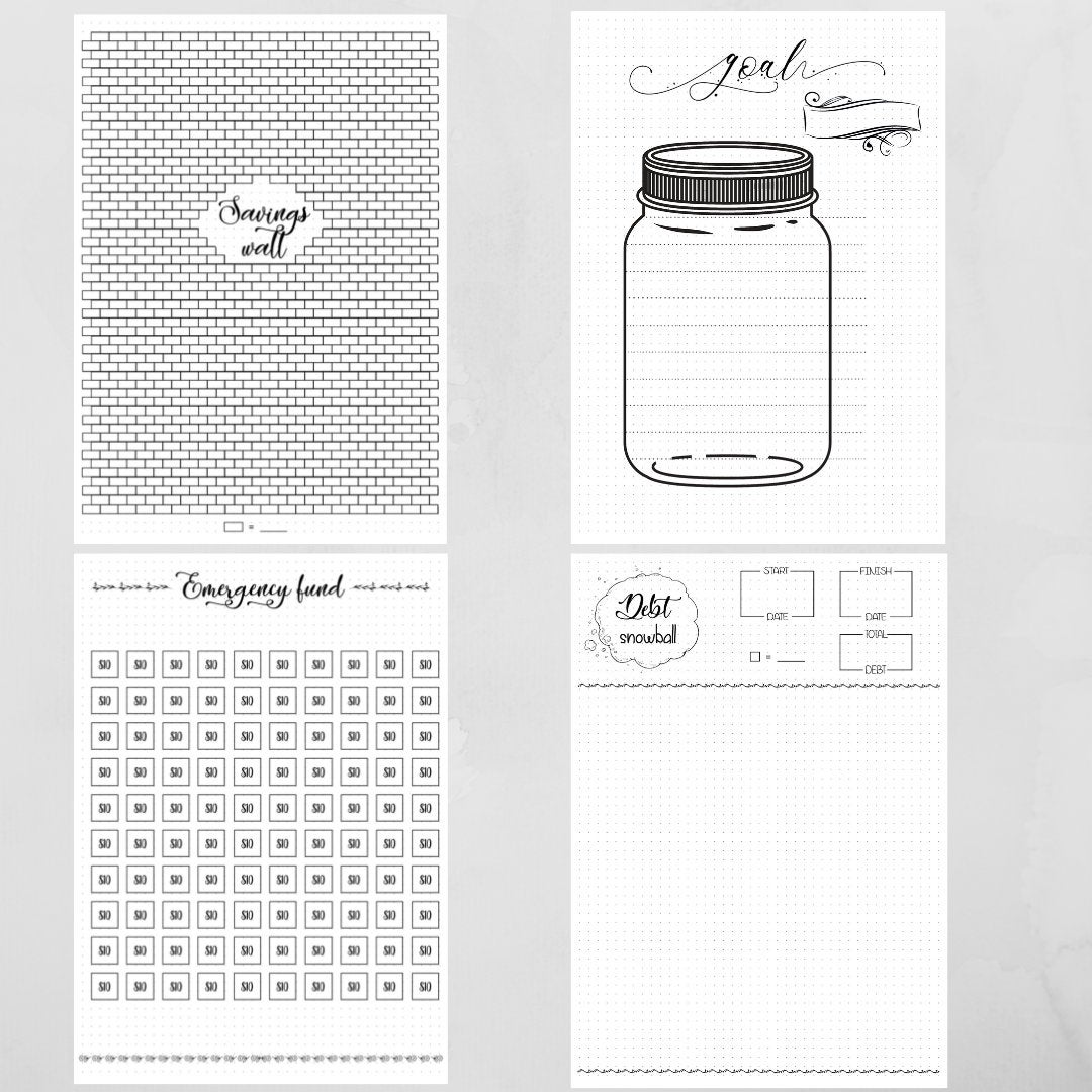 savings bullet journal printable