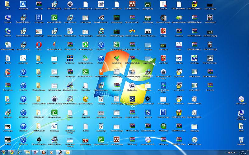Muitos icones na área de trabalho