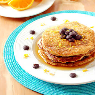 Orange Pancakes with Chocolate Chips.