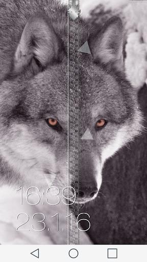 狼 ジッパー画面ロック
