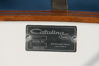 Photo: Original Serial hull number 5615 and teak step to transom ladder