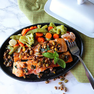 Salmon Fillets with Pistachio Basil Butter