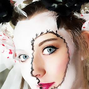 Always by Brenda Hooper - People Body Art/Tattoos ( blue, wedding, woman, body art, past, people, body paint, portrait, photography, eyes,  )