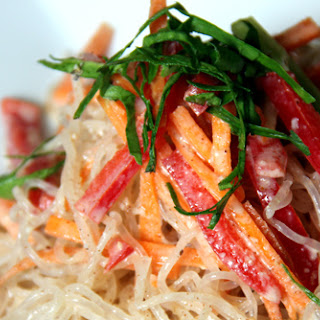 Kelp Noodles With Almond-Ginger Dressing.
