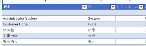 DynamicsのExcelエクスポートはデータテーブルが定義されている