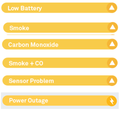 Safety history yellow for low battery, smoke, CO, sensor problem, power outage