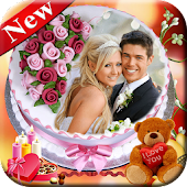 Name Photo on Anniversary Cake – Love Frames