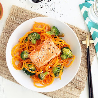 """Salmon with Butternut Squash """"Soba"""" Noodles and Sesame Broccoli"""