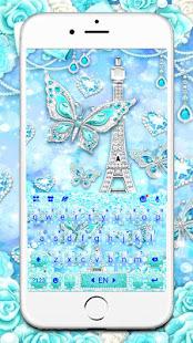 Blue Paris Butterfly Keyboard Theme