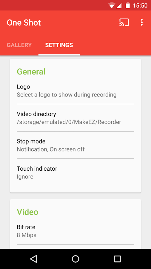 One Shot screen recorder (PRO)- screenshot