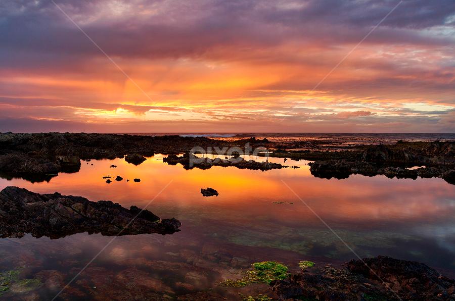 Tidal Pool Sunset by Hugh-Daniel Grobler - Landscapes Waterscapes