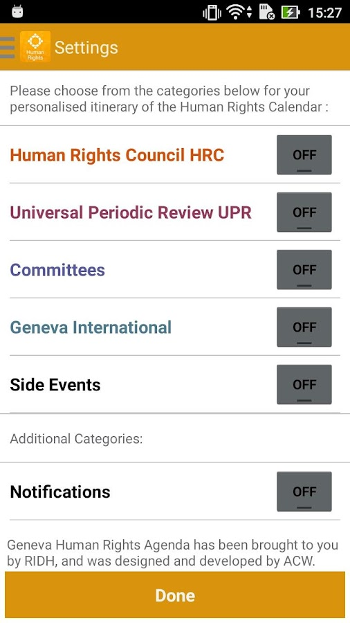 Geneva Human Rights Agenda: captura de pantalla