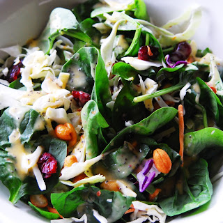 Quick Spinach Salad with Peach Vinaigrette Dressing