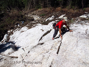 Photo: Lower slab, northern run. Kevin grabs holds caused by differential weathering.