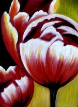 Photo: 334, Нетронина Наталья, Триптих -Тюльпаны (3), масло, бархат (живопись по бархату), 40х30 см,