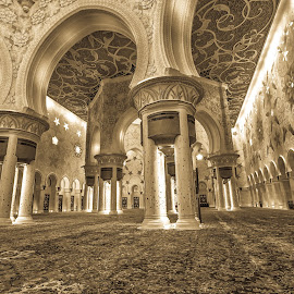 The Grand Mosque by Ebtesam Elias - Buildings & Architecture Places of Worship ( grand mosque, black and white, abu dhabi, architecture, travel photography )