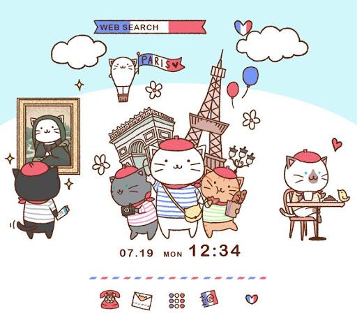 壁紙無料-猫ちゃんのパリ旅行-かわいいきせかえ・アイコン