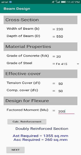 Beam Design (IS:456-2000) screenshot 1